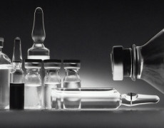 Clear liquid in glass vials